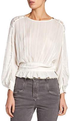 Etoile Isabel Marant Oak Viscose Blouson-Sleeve Blouse with Buttons
