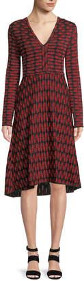 M Missoni Geometric Jacquard Long-Sleeve Dress