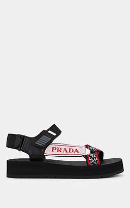Prada Women's Logo-Jacquard Sandals - Black