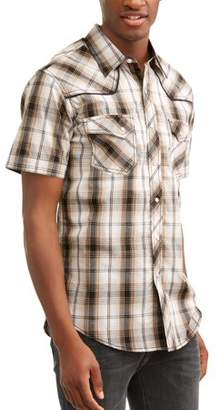 Plains Men's Short Sleeve Text Plaids with Piping And Offset Pockets