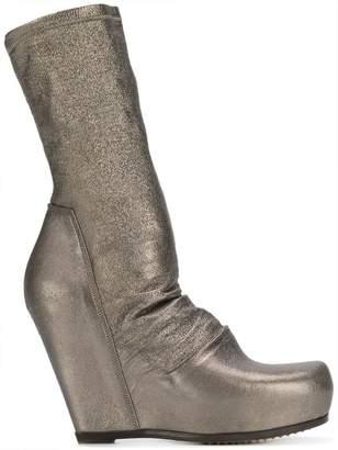 Rick Owens platform metallic sock boots