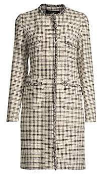 Max Mara Women's Anabela Plaid Tweed Fringed Coat