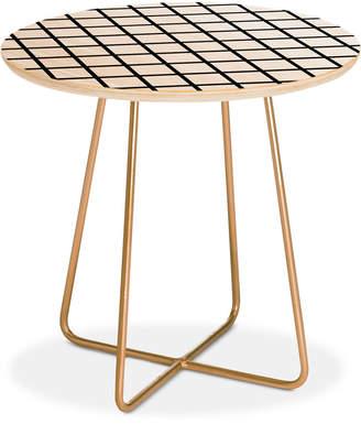 Deny Designs Little Arrow Design Co monochrome grid Round Side Table