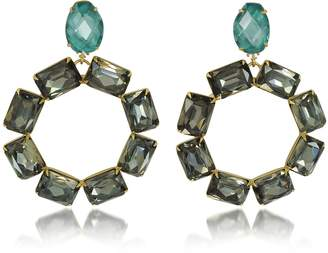 Tory Burch Vintage Goldtone Brass w/ Denim Blue and Smoke Crystals Clip on Earrings