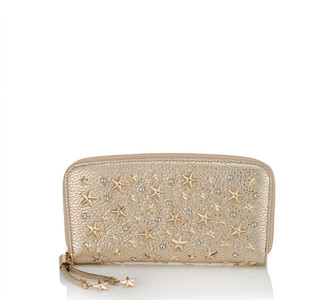 Jimmy Choo FILIPA Light Gold Washed Metallic Deerskin Zip Around Wallet with Crystal Stars