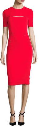 Thierry Mugler Slashed Staple-Trim Short-Sleeve Dress