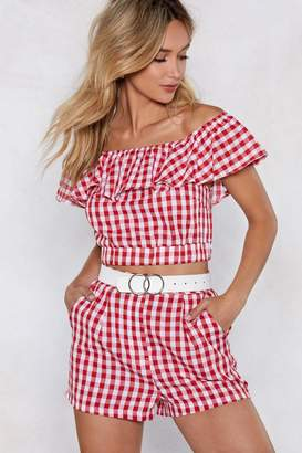 Nasty Gal Making Waves Gingham Crop Top and Shorts