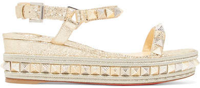 Christian Louboutin - Pyraclou 60 Spiked Metallic Textured-leather Wedge Sandals - Platinum
