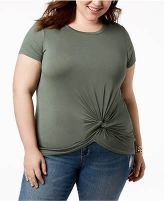 Planet Gold Trendy Plus Size Twist-Hem T-Shirt