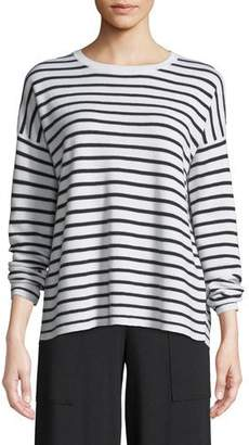 Eileen Fisher Long-Sleeve Striped Merino Sweater