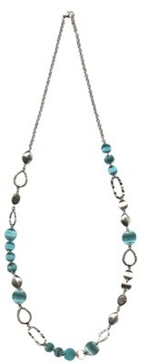"""Women's Fashion Long Necklace - Silver/Turquoise(36"""")"""