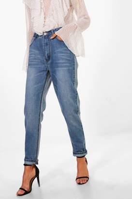 boohoo Sophie High Waist Contrast Mom Jeans