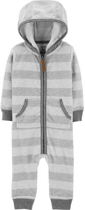 Carter's Baby Boy Striped Fleece Hooded Coverall