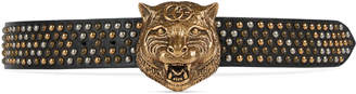 Studded leather belt with feline head $1,490 thestylecure.com