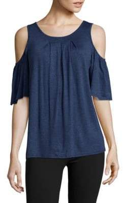 Max Studio Solid Cold Shoulder Top