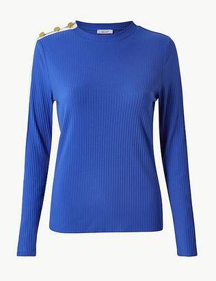 Marks and Spencer Textured Round Neck Long Sleeve T-Shirt