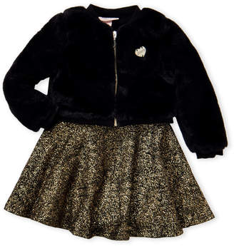 Juicy Couture Toddler Girls) Two-Piece Faux Fur Jacket & Dress Set