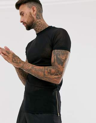Asos Design DESIGN skinny longline t-shirt with stretch in fine mesh with side zips