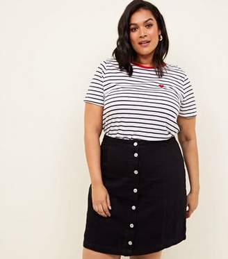 New Look Curves Black Button Front Denim Skirt