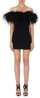 Saint Laurent Women's Feather-Trimmed Crepe Off-The-Shoulder Dress