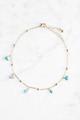 Much Too Much Turquoise Beaded Anklet