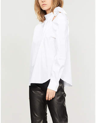Toga Cold-shoulder neck-tie cotton shirt