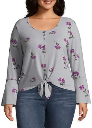 Arizona Long Sleeve Scoop Neck Knit Blouse-Juniors Plus