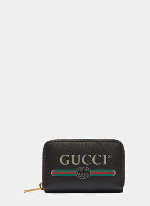 Gucci Print Zip-Around Leather Card Case in Brown