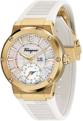 Salvatore Ferragamo F-80 Motion Rubber Strap Smart Watch, 44mm
