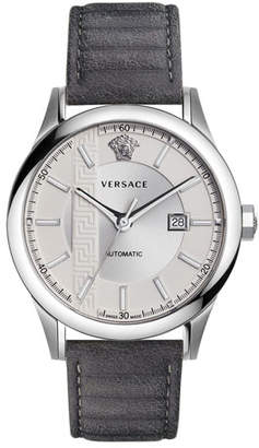 Versace 44mm Aiakos Men's Automatic Watch with Gray Leather Strap