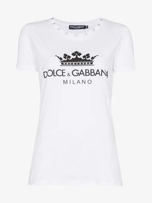Dolce & Gabbana diamante collar logo crown print cotton t shirt