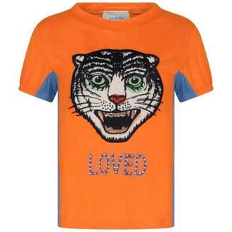 Gucci GUCCI* EXCLUSIVE* Orange Linen Feline Top