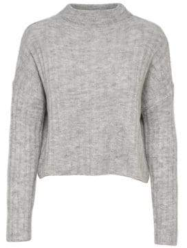 Only Cropped High Neck Knit Pullover Sweater