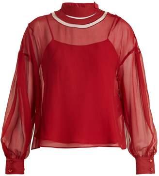 Fendi Cut-out neck silk-chiffon blouse