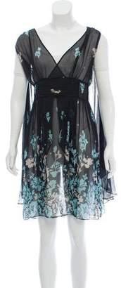 Temperley London Sheer Floral Print Dress