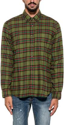 Aspesi Green/red/black Check Flannel Cotton Shirt