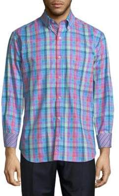 Tailorbyrd Multicolor Plaid Cotton Button-Down Shirt