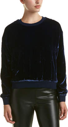 KENDALL + KYLIE Velvet Silk-Blend Sweatshirt