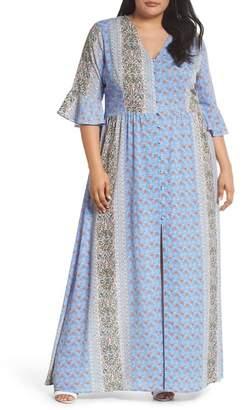 Glamorous Button Front Maxi Dress (Plus Size)