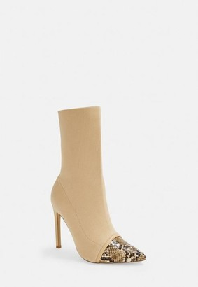 Missguided Nude Snake Toe Cap Knit Ankle Boots
