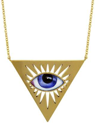 Lito Fine Jewelry Small Blue Enamel Triangle Evil Eye Necklace - Yellow Gold