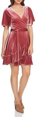 1 STATE 1.STATE Velvet Flutter-Sleeve Dress