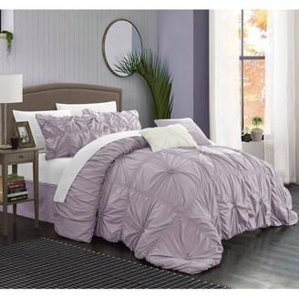 Chic Home 6-Piece Hyatt Floral Pinch Pleat Ruffled Comforter Set