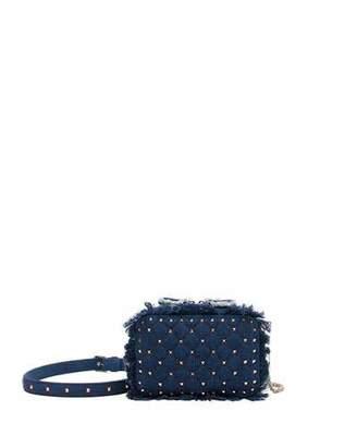 Valentino Rockstud Spike Fringed Denim Crossbody Bag