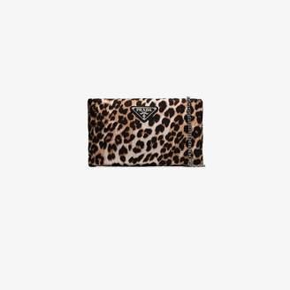 Prada Brown Leopard Print Nylon Clutch