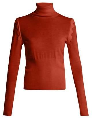 Chloé Scallop Trim Roll Neck Wool Sweater - Womens - Dark Red