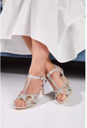 Quiz Bridal Silver Diamante T-Bar Heeled Sandals