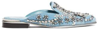Alexander McQueen Crystal Embellished Velvet Backless Loafers - Womens - Light Blue