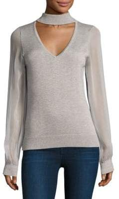 Ramy Brook Ashley Chiffon-Sleeve Choker Sweater