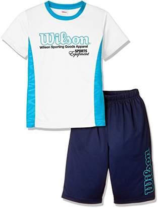 Wilson (ウィルソン) - (ウィルソン) Wilson 上下セット Tシャツスーツ 18SS WX5785 [ジュニア] WX5785 01 ホワイト 140